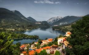 Picture mountains, lake, Alps, Italy, Abruzzo