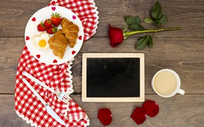 Picture hearts, hearts, love, roses, valentine, romantic, croissants, love, roses, Breakfast, growing, a Cup of coffee, …