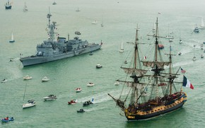 Picture Yacht, Boat, French Navy, 32 gun sailing frigate class Concorde, The Frigate Hermione, Marine Nationale, ...