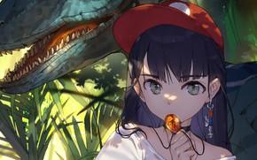 Picture look, girl, Park, mouth, pendant, cap