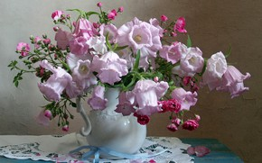 Picture pink, roses, bouquet, pitcher, bells