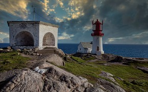 Picture coast, lighthouse, Norway