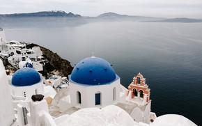 Picture roof, sea, Santorini, Greece, coast, Santorini, Greece, Rooftop