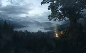 Picture mountains, the fire, pond, Solomon Kane, Black Forest Landscape