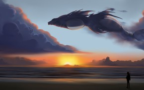 Picture fantasy, sky, sea, landscape, sunset, wings, clouds, dragon, digital art, artwork, fantasy art, silhouette, Creature
