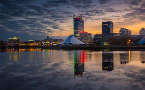 Picture the sky, sunset, reflection, river, backlight, Belarus, Minsk, Belarus, timelapse, Minsk, Svisloch, Nemiga, 22zweizwei, Pobediteley …
