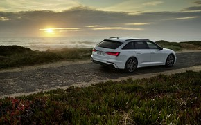 Picture white, Audi, hybrid, universal, AWD, Audi A6, 2020, A6, A6 Avant, 55 TFSI and four