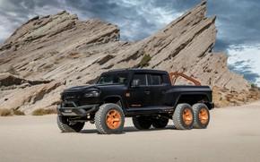 Picture pickup, Rezvani, 2020, on the background of rocks, Hercules 6x6