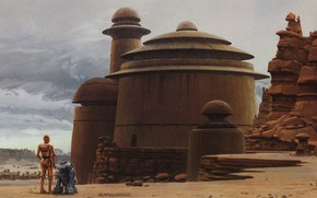 Picture Star wars, Tatooine, Ralph McQuarrie's illustration, C-3PO and R2-D2 approach Jabba the Hutt's palace, the …