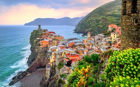 Picture sea, home, Italy, Vernazza