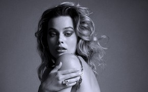 Picture look, girl, face, photo, hair, actress, black and white, beautiful, shoulder, Vogue, Margot Robbie