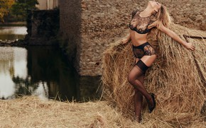 Wallpaper yard, wagon, straw, Spring, sexy, Summer, Bar Refaeli, lace lingerie, beautiful woman, Agent Provocateur, Top ...