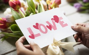 Picture Love, bouquet, tulips, postcard, Valentines day