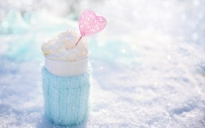 Picture nature, heat, pink, blue, heart, cream, mug, heart, winter, snow, morning, cup, cream, outdoor, mug …