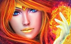 Wallpaper girl, fire, flame, art, wgssd