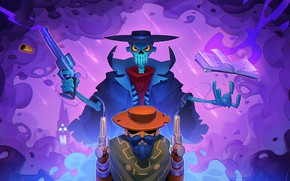 Picture guns, hat, skeleton, book, cowboy, man, Enter the Gungeon