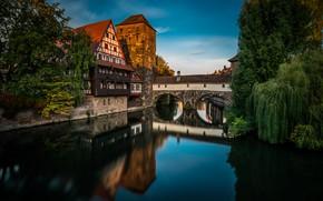 Picture bridge, the city, river, home, Germany, Nuremberg