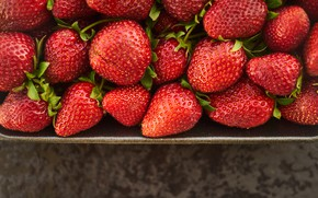 Picture berries, background, strawberry, container, tray, a lot