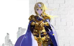 Picture girl, sword, armor, Sword Art Online, Sword Art Online: Alicization