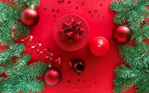 Picture winter, balls, branches, holiday, balls, candle, round, Christmas, red, New year, needles, serpentine, bow, stars, …