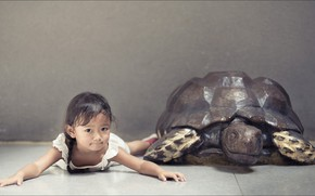 Picture girl, two, children, kid, turtle, other, Oops