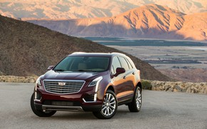 Picture mountains, jeep, Cadillac, cadillac, american, Xt5