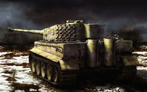 Picture Tiger, art, painting, tank, ww2
