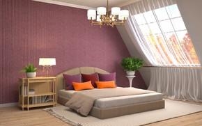 Picture design, house, bed, interior, window, chandelier, bedroom