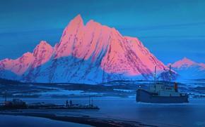 Picture twilight, sea, landscape, nature, lightning, sunset, art, mountain, snow, people, truck, artist, ship, digital art, …