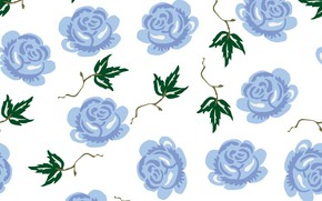 Picture white, flowers, background, roses, wallpaper, blue, background, paper, roses, seamless