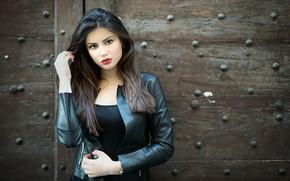 Picture look, girl, pose, photo, model, hair, portrait, makeup, jacket, beauty