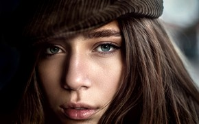 Picture look, close-up, face, model, portrait, makeup, hairstyle, cap, brown hair, Kate, Yuri Leo
