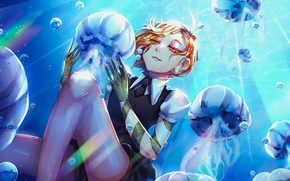 Picture jellyfish, under water, the young man, mariam246810