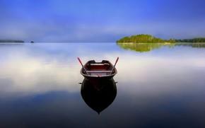 Picture lake, reflection, boat, Finland, Karijarve