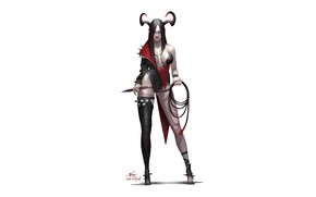 Picture Girl, Art, Devil, Style, Background, Minimalism, Succubus, Characters, InHyuk Lee