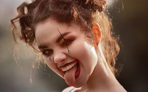 Picture language, girl, face, mood, makeup, Harlequin, Kseniya Steak, Olesya Efanova