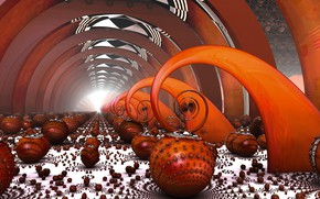 Wallpaper balls, fractals, infinity, infinity, fractal art, geometric objects, red olechow