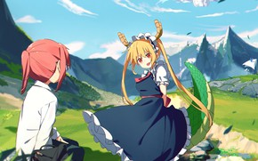 Picture nature, girls, Kobayashi, Kobayashi-san Chi no Maid Dragon, Tooru