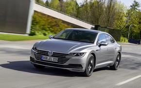 Picture road, vegetation, Volkswagen, 2018, Elegance, liftback, 2017, Arteon, gray-silver