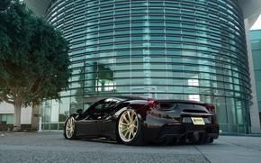 Picture tree, the building, Ferrari, Black, 488 GTB
