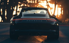 Picture Sunset, Auto, Black, 911, Porsche, Machine, Carrera, Rear view, Porsche 911 Carrera S, Transport & …