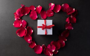 Picture holiday, gift, petals, heart