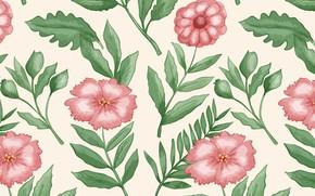 Picture flowers, retro, pattern, vintage
