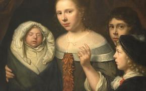 Picture oil, picture, canvas, 1677, Портрет молодой женщины с тремя детьми, Валлерант Вайлант, Wallerant Vaillant