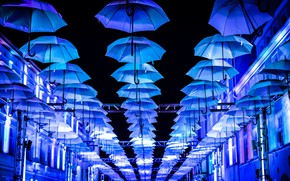 Picture street, umbrellas, umbrella, blue, street, decoration, decoration, decor