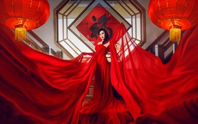 Picture pose, style, model, fabric, Asian, red dress, lanterns