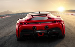 Picture lights, Ferrari, sports car, Road, SF90