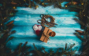 Picture background, tree, gift, tree, New Year, Christmas, Christmas, bumps, wood, blue, background, hearts, New Year, …