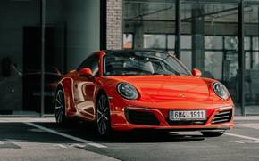 Picture red, reflection, lights, sports car, porsche, front view, porsche 911