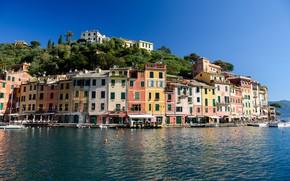 Picture sea, home, Italy, Portofino